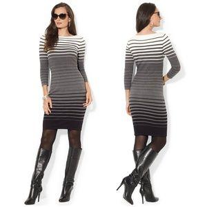 Lauren by Ralph Lauren Gray Ombré Striped Sweater